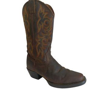 Justin Boot Brown Leather Boots Square Toe Western